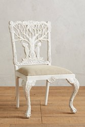 Anthropologie Handcarved Menagerie Woodpecker Dining Chair White