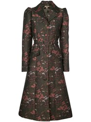 Michael Kors Collection Floral Brocade Single Breasted Coat Green