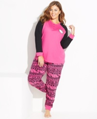 Hello Kitty Plus Size Lovely Dreamer Knit Top And Fleece Bottom Pajama Set
