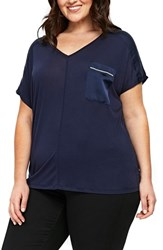 Evans Plus Size Satin Pocket Tee Navy Blue