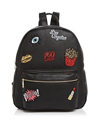 Ollie And B Patch Leather Backpack Black Gold