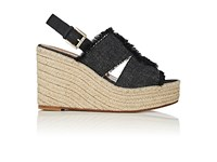 Barneys New York Women's Denim Platform Wedge Espadrille Sandals Navy