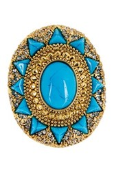 House Of Harlow Wari Ruins Cocktail Ring Size 8 Blue
