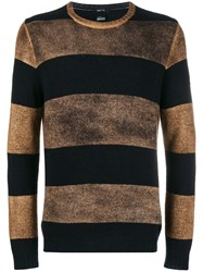 Avant Toi Overdyed Striped Sweater Black