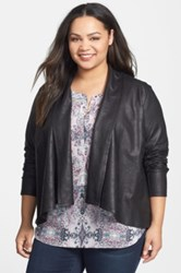 Nydj Coated French Terry Drape Front Jacket Plus Size Black