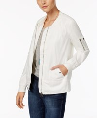 Style And Co Petite Poplin Bomber Jacket Only At Macy's Winter White