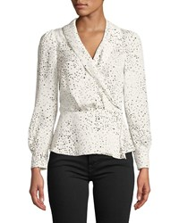 Cupcakes And Cashmere Diego Dot Print Long Sleeve Top Ivory