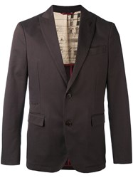 Al Duca D'aosta 1902 Herringbone Blazer Men Cotton Spandex Elastane 52 Brown