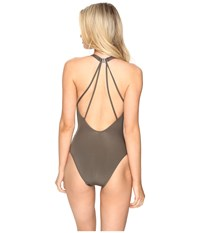 Jets By Jessika Allen High Neck Plunge Lace Up Front One Piece Stone Women's Swimsuits One Piece White