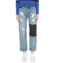 Diesel Leather Patch Straight Mid Rise Jeans 7.6