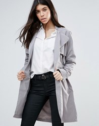 Brave Soul Belted Trench Coat Gray