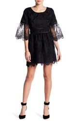 Romeo And Juliet Couture Sheer Sleeve Embroidered Dress Black