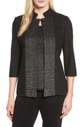 Ming Wang Women's Metallic Knit Jacket Black Silver
