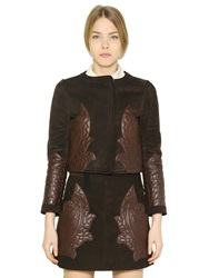Chloe Suede Jacket W Quilted Leather Patches Brown
