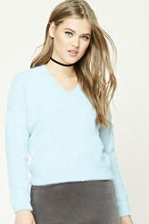 Forever 21 Fuzzy Knit V Neck Sweater