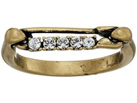 Marc Jacobs Safety Pin Strass Ring Crystal Antique Gold