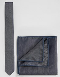 Minimum Tie And Pocket Square Set In Chambray Blue