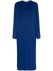 Givenchy Long Sleeved Pleated Midi Dress Blue