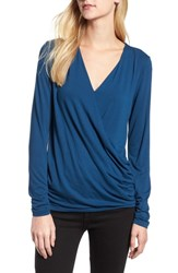 Bobeau Faux Wrap Knit Top Teal