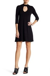 Blvd Keyhole Mock Neck Dress Black