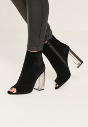 Missguided Black Peep Toe Transparent Faux Suede Heeled Boots