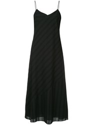 Ck Calvin Klein Eyelet Stripe Spaghetti Dress Black