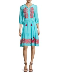 Figue Embroidered 3 4 Sleeve Peasant Dress Blue