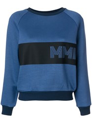 Mr And Mrs Italy Embroidered Colour Block Sweatshirt Blue