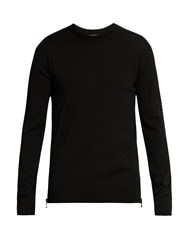 Balmain Crew Neck Wool Sweater Black