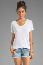 Lamade Viscose Jersey Double V Slouch Tee White