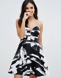 Zibi London Bandeau Skater Dress In Smudge Print Black And White Multi