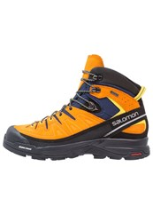 Salomon X Alp Mid Gtx Walking Boots Navy Blazer Bright Marigold Empire Orange