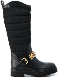 Moschino Logo Buckle Boots Leather Nylon Rubber Black