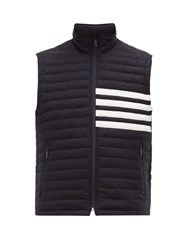 Thom Browne Down And Feather Quilted Wool Gilet Navy
