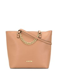 Love Moschino Shopping Bag With Chain Brown