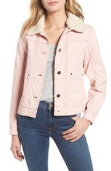 Pendleton Down Faux Shearling Trucker Jacket Pink