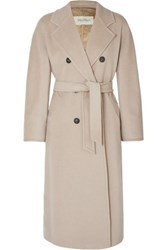 Max Mara Madame Belted Double Breasted Wool And Cashmere Blend Coat Beige