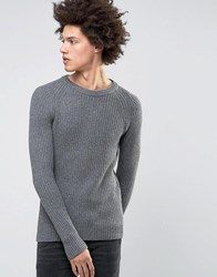 Selected Homme Crew Neck Knit In Chunky Rub With Raglan Sleeve Gray
