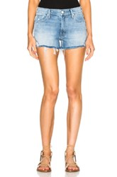 Mother Teaser Fray Shorts In Blue