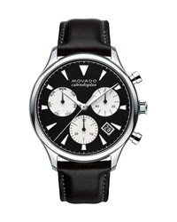 Movado 43Mm Heritage Calendoplan Chronograph Watch With Black Leather Strap Black Silver