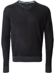 Armani Jeans V Neck Fitted Sweater Blue