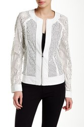 Dolce Cabo Laser Cut Pleather Jacket White