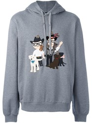 Dolce And Gabbana Western Designer's Patch Hoodie Grey