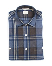 Culturata Tailored Fit Large Plaid Dress Shirt With Pockets Navy