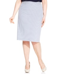 Nine West Plus Size Seersucker Pencil Skirt Navy White
