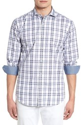 Bugatchi Shaped Fit Check Sport Shirt Sky