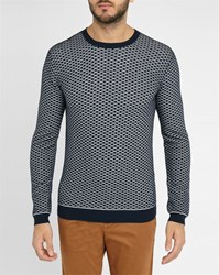 Ikks White Navy Honeycomb Round Neck Sweater