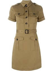 Burberry Brit Belted Military Shirt Dress Green