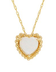 Lord And Taylor Opal 14K Yellow Gold Beaded Heart Pendant Necklace