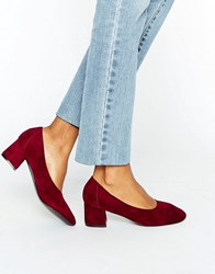 Daisy Street Burgundy Mid Heeled Shoes Burgundy Microfibre Red